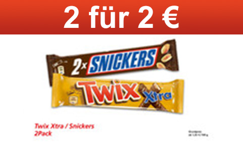 2x Snickers 2er Pack oder Twix Xtra